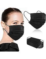 100Pcs Black Face Masks, Disposable Breathable 3 Ply Face Masks Breathable 3 Ply Face Masks for Adults
