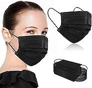100Pcs Black Disposable Face Masks,Black Face Masks Disposable Breathable 3 Ply Face Masks for Adults
