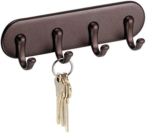 Amazon Com Idesign York Self Adhesive Plastic Key Rack 4 Hook Organizer For Kitchen Mudroom Hallway Entryway 1 5 X 7 X 5 5 Bronze Home Kitchen