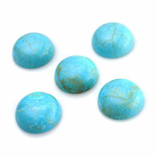 Stone Flat Round Beads (BEADNOVA 5 Pcs 12mm Turquoise Beads Semiprecious Stone Gemstone Round Flat-Back Cabochons Beads Fashion Jewelry Beads Findings Set With Free Jewelry Packing Box)