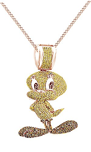 AFFY Round Cubic Zirconia Tweety Birds Hip Hop Pendant in 14k Rose Gold Over Sterling Silver (4.11 Cttw) by AFFY