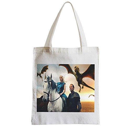 Borsa Grande Shopping Spiaggia Pupilla Gioco Di Troni Daenerys Targaryen Dragon Jorah Mormont Gioco Di Troni