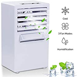 Vshow Mini Portable Air Conditioner Fan,Personal Space Evaporative Air Cooler Swamp Cooling System Misting Humidifier Small Desktop Fan Table Fan- Third Generation White