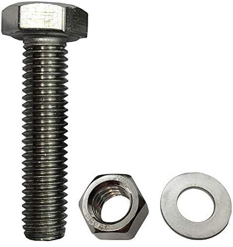 1//4-20x3 Hex Head Screws Bolts 8 Sets Full Thread Nuts Flat /& Lock Washers Kits Bright Finish Machine Thread 304 Stainless Steel 18-8 MINHER