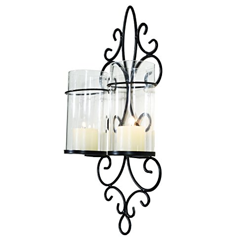 Adeco Decorative Iron Vertical Candle Tealight Pillar Holder Wall Sconce, Antique Vintage Vine Style, Classy Home Decor Accents