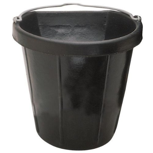 Fortex Flat Side Feed Bucket for Horses, (Flat Side Rubber Bucket)