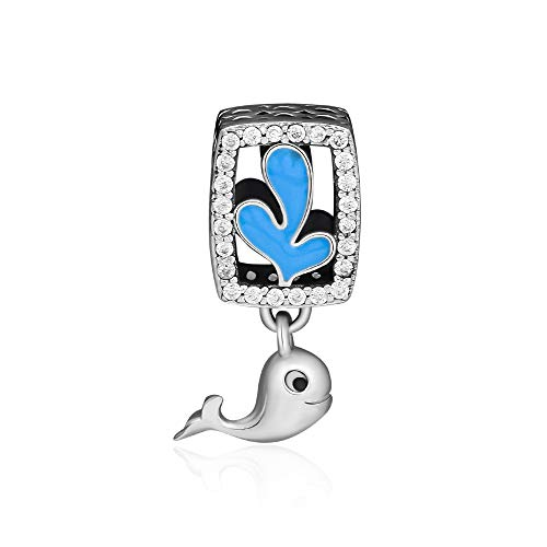 CKK Fit Pandora Bracelet 925 Sterling Silver Playful Dolphin Charm with Blue Enamel & Clear Crystal DIY Beads for Jewelry Making