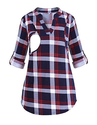 PrettyLife Nursing Tops with Side Pockets Notch Neck Plaid Breastfeeding Blouse Shirt (XXL, Red with Rolled-up Sleeve)