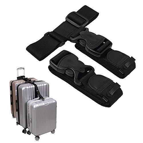 (Luggage Connector Straps,Add a Bag Suitcase Strap Belt,Luggage Clip Link,Multi Adjustable Travel Attachment Accessories for Carry on bag stacker - 2 pack(Extended)