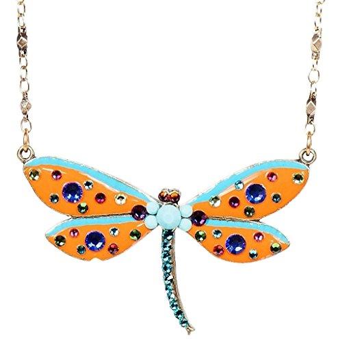 Anne Koplik Swarovski Crystal & Enamel Dragonfly Pendant Necklace 530