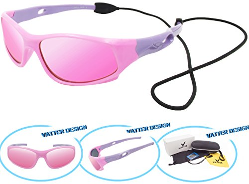 Price comparison product image VATTER TR90 Unbreakable Polarized Sport Sunglasses For Kids Boys Girls Youth 816pinkpurple