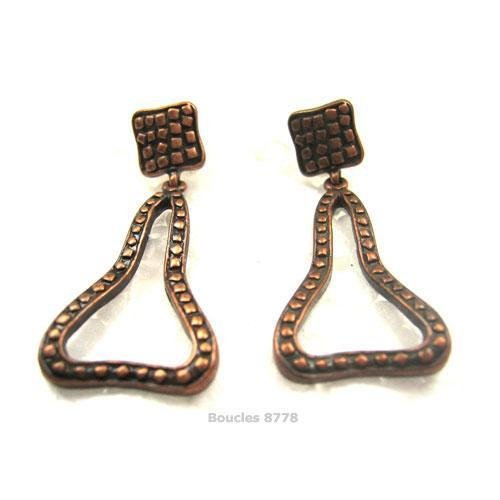 Boucles D'oreilles Clous Metal Couleur Cuivre Vieilli 8778