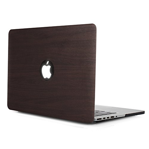 iDOO PU Leather Coated Soft Touch Hard Case for MacBook Pro 13 inch Retina without CD Drive Model A1425 and A1502 Dark Wood (Macbook Pro Case 13 Leather)