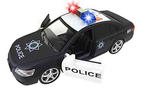 Liberty Imports Friction Powered Police Car 1:16 Toy Rescue Vehicle with Lights & Siren Sounds