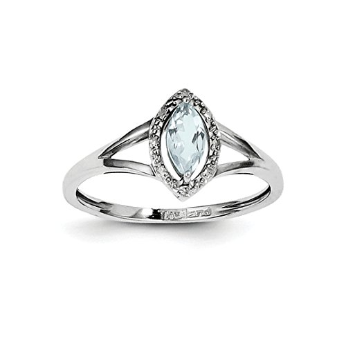 Aquamarine Marquise - ICE CARATS 925 Sterling Silver Diamond Blue Aquamarine Marquise Band Ring Size 9.00 Gemstone Fine Jewelry Ideal Gifts For Women Gift Set From Heart