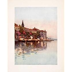 1908 Print Lake Maggiore Italy Coastal Cityscape Venetian Boats Ella Du Cane Art - Original Color Print
