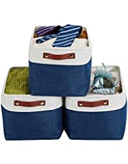 DECOMOMO Foldable Cube Storage Bin | Rugged Canvas Fabric Basket Container W/ Rope Handles | Great for Organizing Closets, Offices and Homes