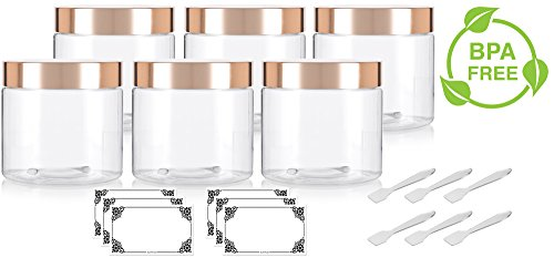 Gold Top Scrub (Clear PET Plastic (BPA Free) Large Refillable Jar with Gold Metal Overshell Lid - 16 oz (6 Pack) + Spatulas and Labels)