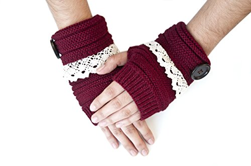 Sizzle City Cable Knit Lace Trim with Button Short Gloves, Fingerless Gloves, Winter Gloves - Knit Gloves Trim