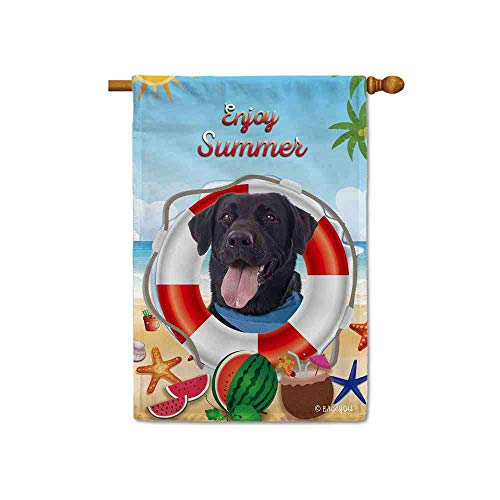BAGEYOU Enjoy Summer Time with My Love Dog Labrador Decorative House Flag Lifebuoy Beach Decor Banner for Outdoor 28x40 Inch Printed Double Sided (Furniture Queensland Outdoor)