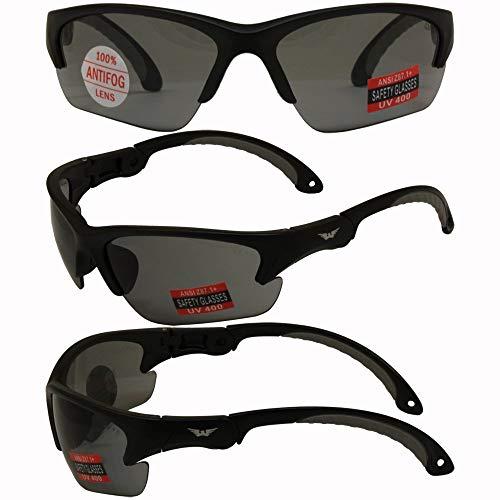 Global Vision Klick Safety Sunglasses Black Frame Smoke ()