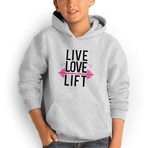 Youth Hoodies Live Love Lift Ggirl%Boy Sweatshirts Pullover with Pocket Gray 29 by Shenhuakal