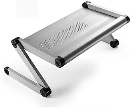 Mobile Desk Cart 持ち上がることおよび折るラップトップテーブル、怠惰なテーブル、携帯用ダイニングテーブル、学生、両親、居間、ソファー、ベッド、等のために適した、任意4色、56 x 30 cm (Color : Silver)