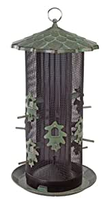 Belle Fleur Oak Leaf Two Compartment Screen Bird Feeder with Eight Feeding Ports, 10.5 lb Capacity