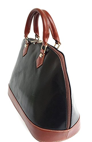 SUPERFLYBAGS Borsa Bauletto in vera pelle Tamponato modello Madrid Made in Italy Nero-Marrone