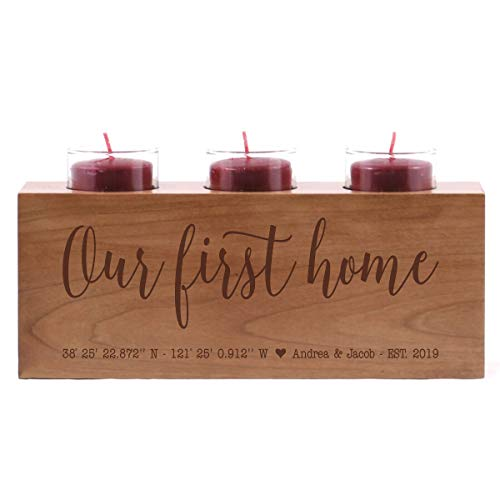 LifeSong Milestones Personalized Family Home Handcrafted Candle Holder Decor Gift - Custom Housewarming Engraved Cherry Wood Keepsake Ideas for Loved One 10