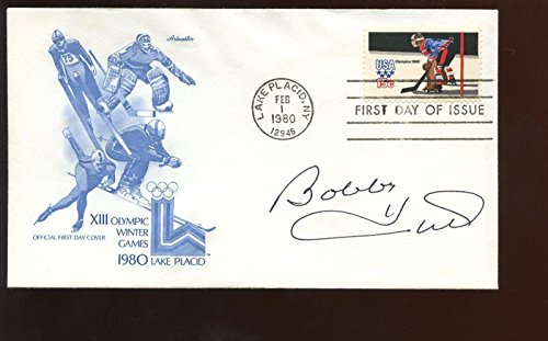 Feb 1 1980 1st Day Issue Envelope/Cachet Autographed Bobby Hull Hologram - NHL Cut Signatures ()