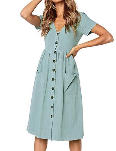 LOMON Womens Button Down midi Dress Front Button Ruched Dresses Light Blue XXL