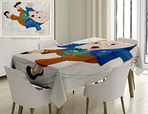 Unique Custom Cotton and Linen Blend Tablecloth Alice in Wonderland Decorations Collection Humpty Dumpty Egg Fall Down Transformation Cartoon Egg NursTablecovers for Rectangle Tables, 60 x 40 inches