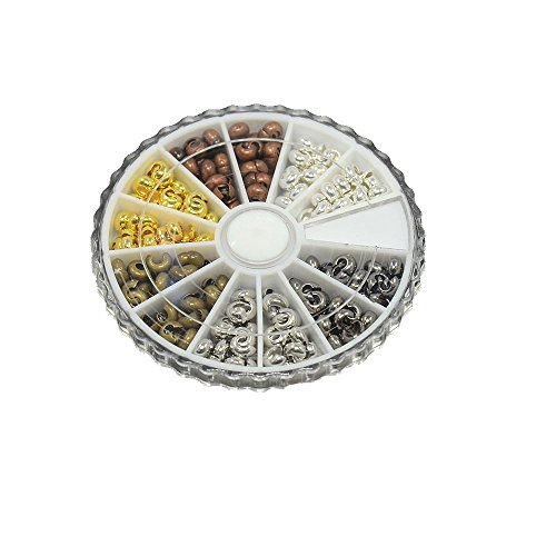 NBEADS 1 Box 250 Pcs Mixed Color of Brass Crimp Beads Covers, 5mm Spacer Beads Covers Cord End Caps Round Crimp Cover for DIY Jewelry Making