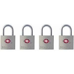 Master Lock 4683Q TSA-Approved Nickel Keyed Alike Luggage/Baggage Lock, 4-Pack, colors may vary