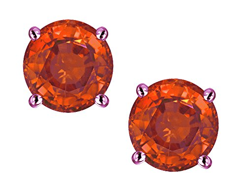 Star K Classic Round 7mm Simulated Orange Mexican Fire Opal Four Prong Stud Earrings 10 kt Rose Gold ()