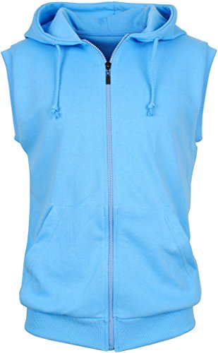 Angel Cola Men's Sleeveless Hoodie Zip Up Cotton Vest Light Blue L