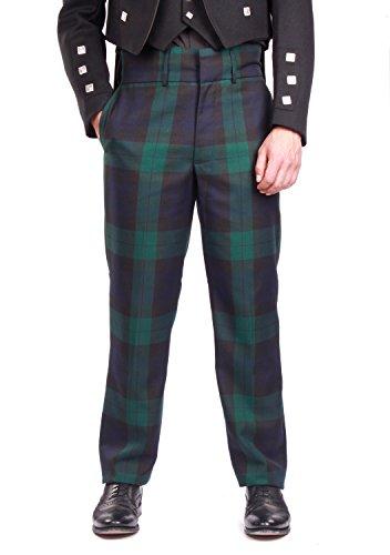 Pant Plaid Highland Ladies (Kilt Society Mens Essentials Scottish Black Watch Tartan Trousers Trews 38 Regular)
