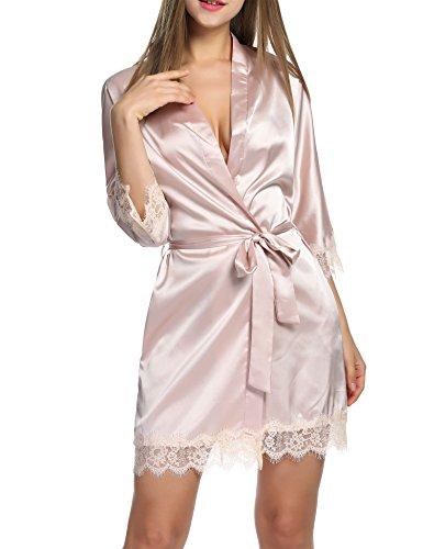 Tipo2 Cintura Notte Pajamas Pigiama Kimono Vestaglia HOTOUCH Con da Raso Champagne Corta Vestaglia Elegante Camice Donna 06wxqwz7