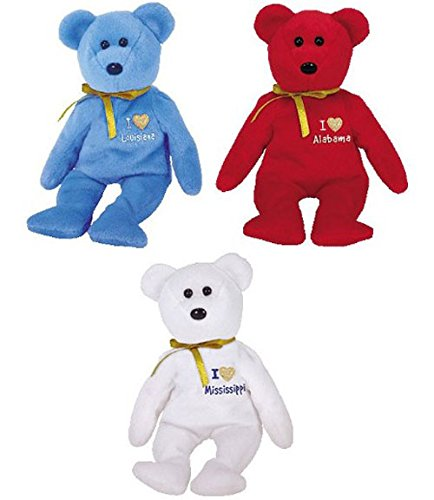 TY Beanie Babies - I LOVE STATE BEAR TRIO (Set of 3 - Alabama, Louisiana & Mississippi) (8.5 inch)