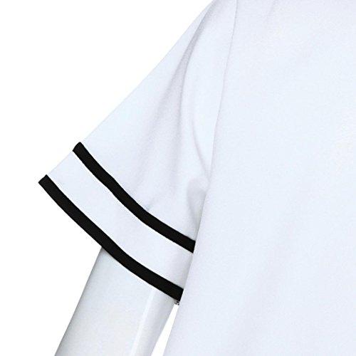 corta Casual Girocollo shirt manica donna Fashion Top righe estiva Adeshop a Bowknot Fasciatura Abbigliamento T White Camicetta Slim puro Colore Camicetta Sexy Elegante New qOYxE0X