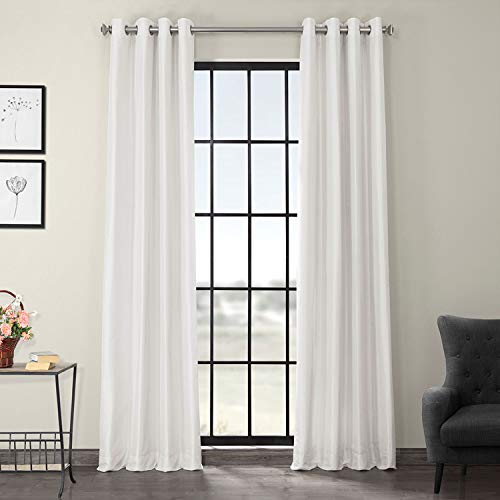 Half Price Drapes PDCH-KBS1-84-GRBO Grommet Blackout Vintage Textured Faux Dupioni Silk Curtain, Ice