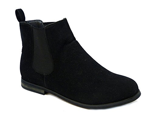 New Womens Smart Flat Heel Chelsea Ladies Shorty Pixie Zip Ankle Boots Shoes Black Suede 4HipS8F