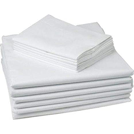 Flat Sheets 55/% Cotton 45/% Poly. New White 54X 72 Draw Sheets T180 3, White