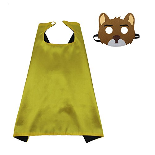 Kids Animal Cape Dress up Costume with Felt Bear Mask-Girls Boys Cosplay Superhero Party Supplies (#4 Cape with Brown Bear mask)