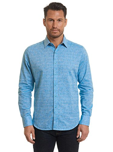 Robert Graham cosner Long Sleeve Woven Teal Shirt Classic Fit XLarge