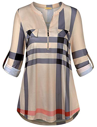 Baikea Henley Women, Ladies Zip Up Split V Neck Roll-up Sleeve Tunic Shirts with Pockets Cuff Button Shirttail Hem Knitted Lovely Modern Dressy Blouses Dark Green Plaid -