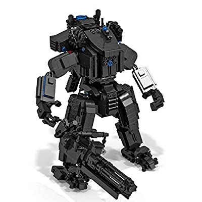 ECLENYES 1378Pcs STEM MOC Army Group Mecha Bricks Small Particle Building Blocks Educational Toy Set with Predator Rotation Blaster (The Product is not Made and Sold by Lego) - Black: Home & Kitchen