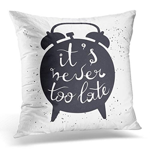 Emvency Throw Pillow Cover Black Silhouette of Alarm Clock on White Inscription It Decorative Pillow Case Home Decor Square 18 x 18 Pillowcase