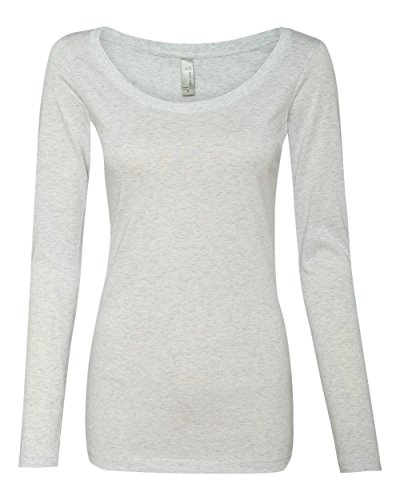 Next Level Apparel 6731 Lady Tri-Blend Long-Sleeve Scoop - Heather White, Large